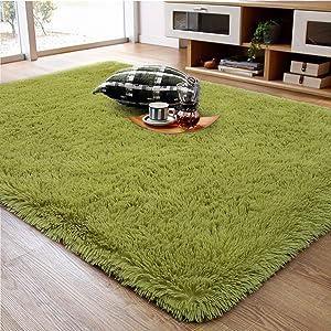 Ompaa Fluffy Rug, Super Soft Fuzzy Area Rugs for Bedroom Living Room - 4' x 5.9' Large Plush Furry Shag Rug - Kids Playroom Nursery Classroom Dining Room Decor Floor Carpet, Green