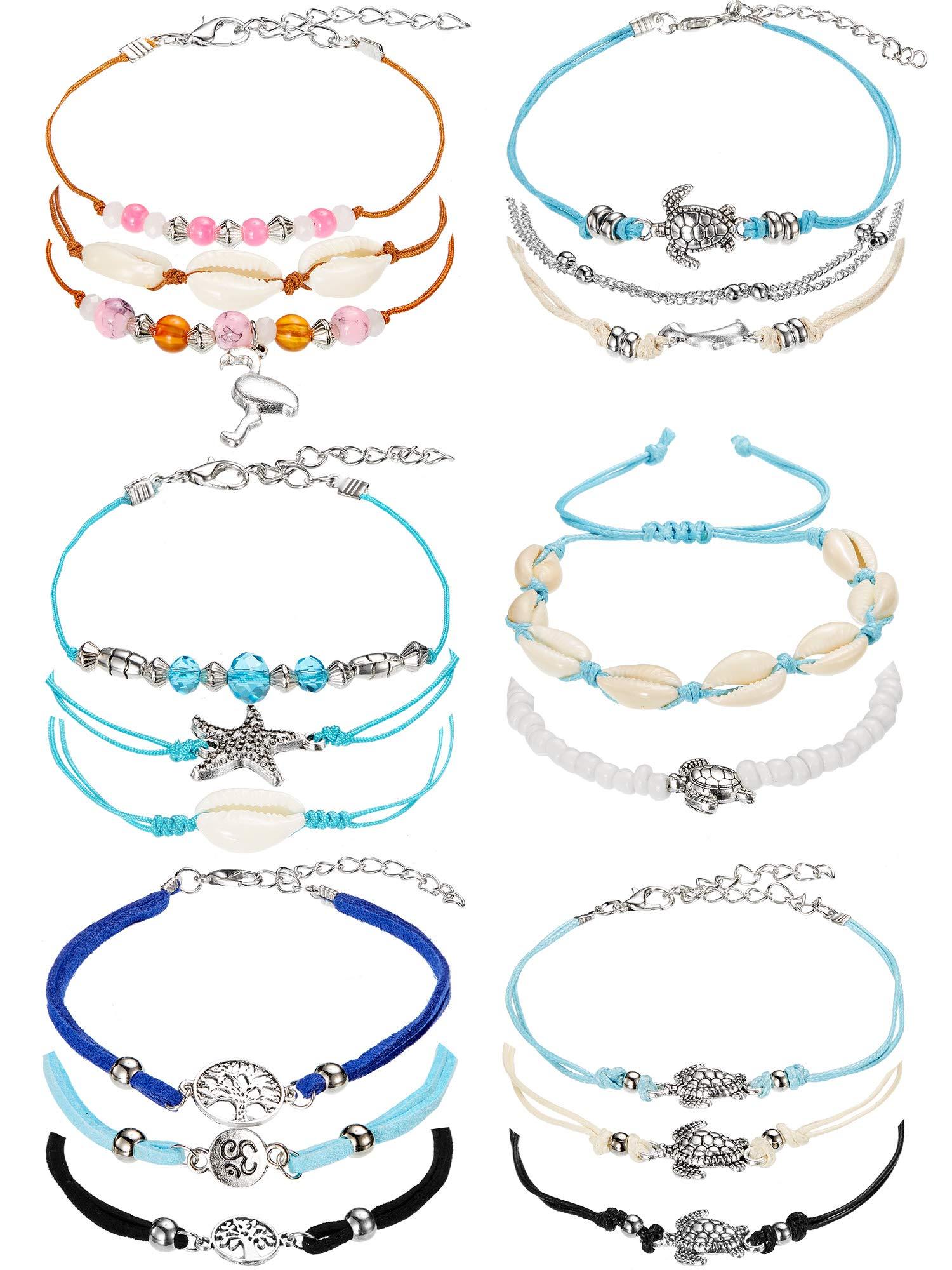 meekoo 17 Pieces Anklet Bracelets Adjustable Boho Turtle Starfish Shell Flamingo Beach Ankle Bracelets Foot Jewelry for Women (Style A) by meekoo