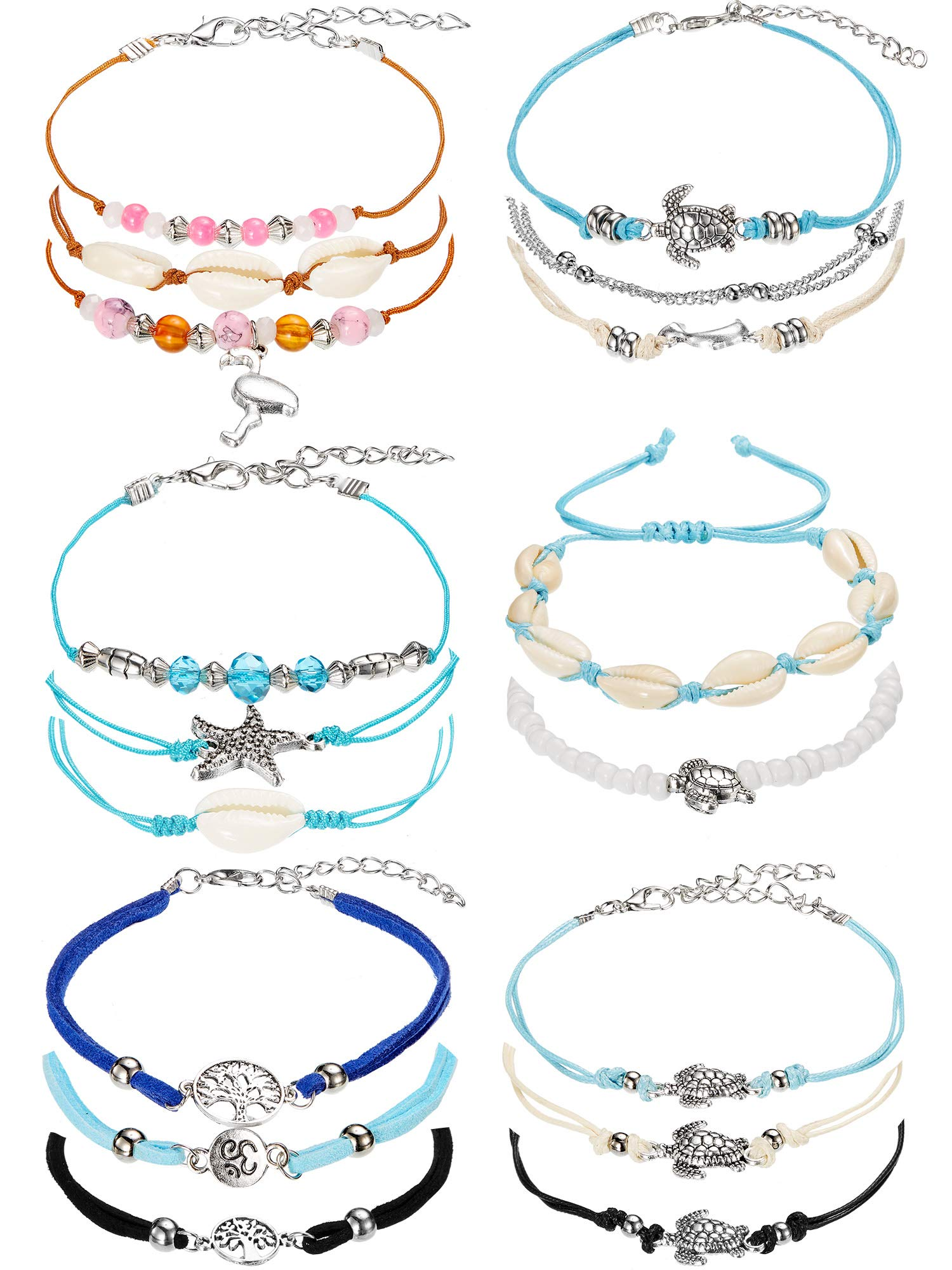 meekoo 17 Pieces Anklet Bracelets Adjustable Boho Turtle Starfish Shell Flamingo Beach Ankle Bracelets Foot Jewelry for Women (Style A)