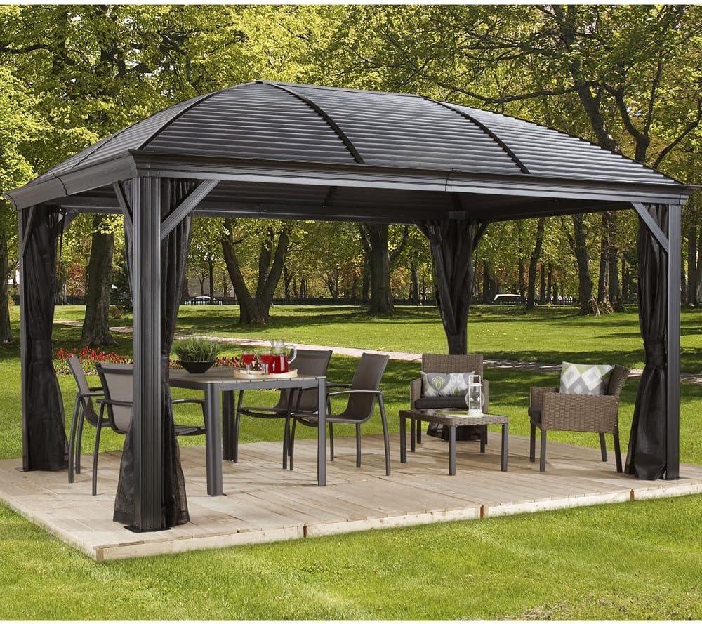 Sojag Moreno - Cenador de aluminio (298 x 423 cm, ideal para verano, techo rígido): Amazon.es: Jardín