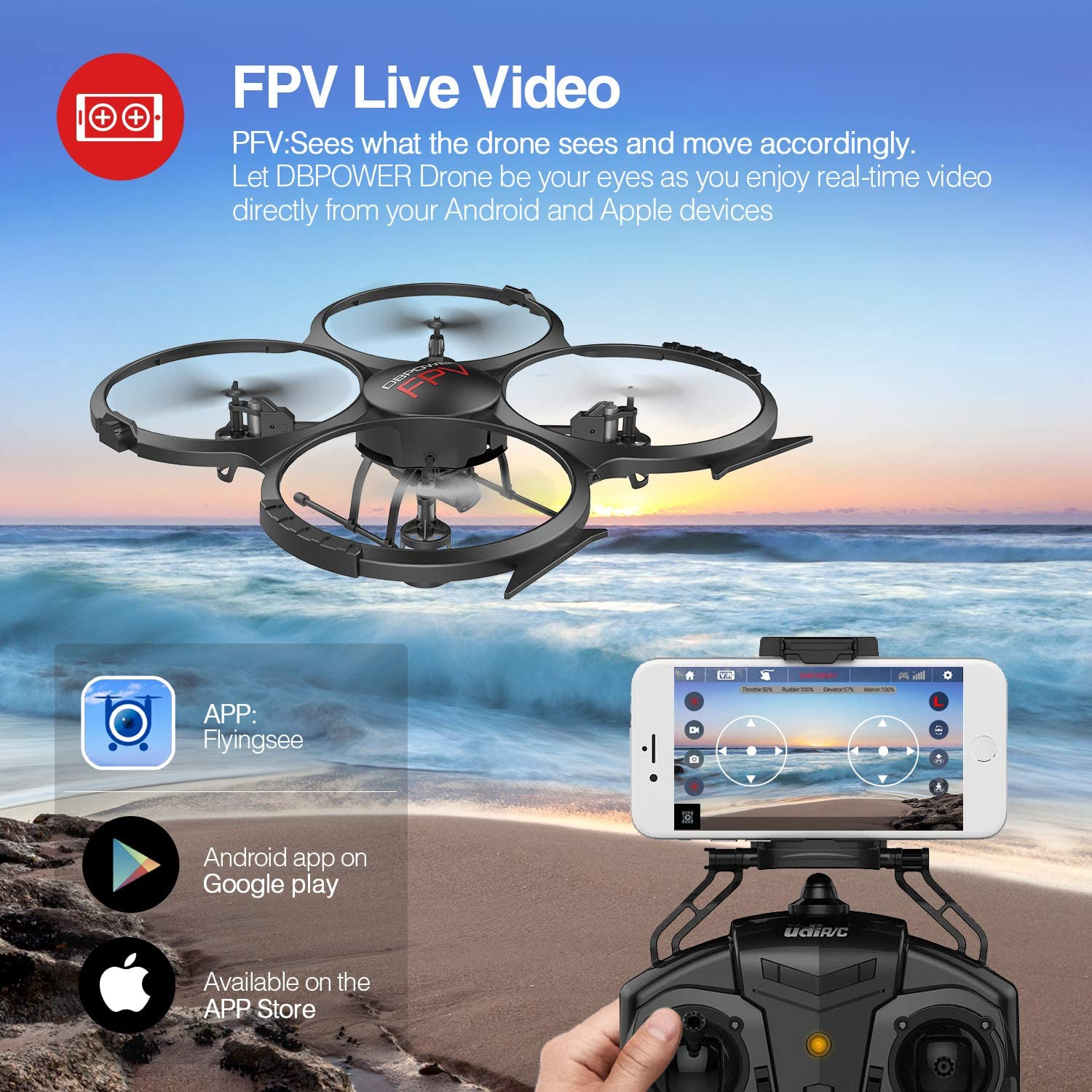 DBPOWER U818A aerial photography drone is at #6 for best drones under 150 dollars