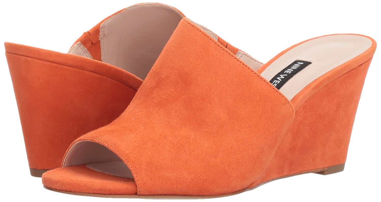 Nine West Women's Janissah Slide Sandal B079P6Q3W7 7.5 B(M) US|Orange Suede