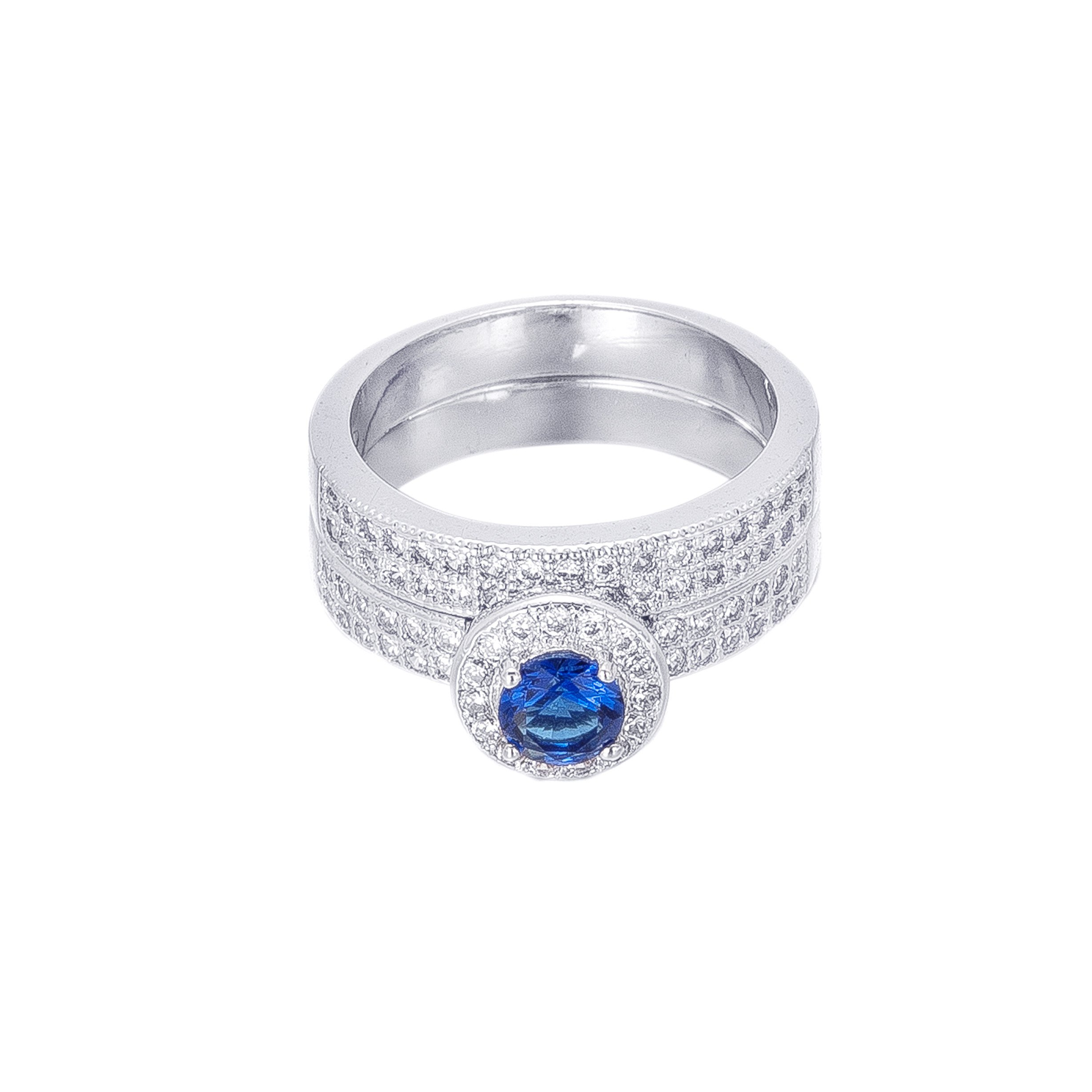 BLOOMCHARM ''Double The Love'' Gorgeous Stackable Rings,Double Design with Clear Cubic Zirconia Crystals ,iDeal Birthday Gifts for Girls Women Friends (Blue, 7)