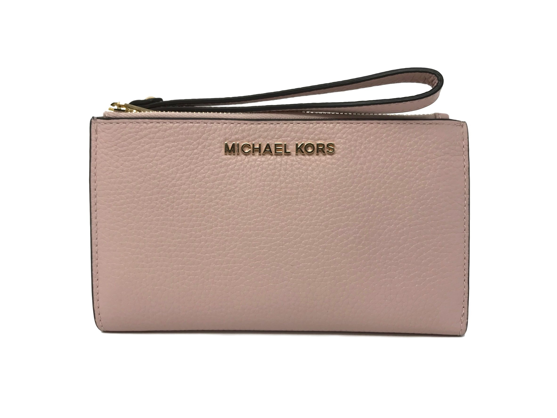 Michael Kors Jet Set Travel Double Zip Leather Wristlet Wallet in Blossom