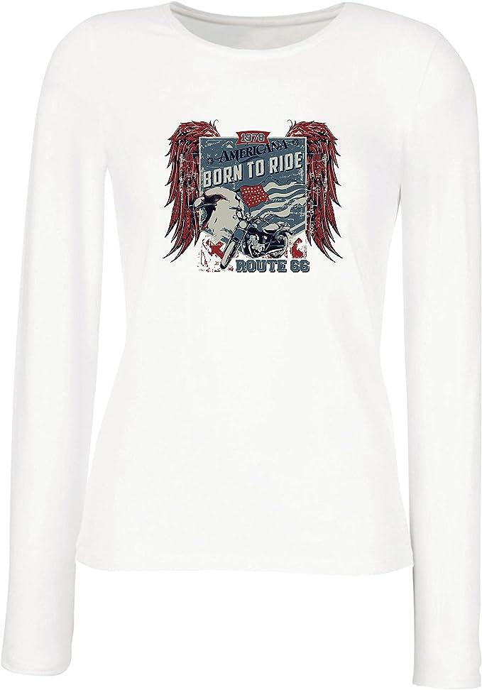 lepni.me Camisetas de Manga Larga para Mujer Ruta histórica 66 - águila de la Bandera Americana, Camisa clásica de la Motocicleta: Amazon.es: Ropa y accesorios