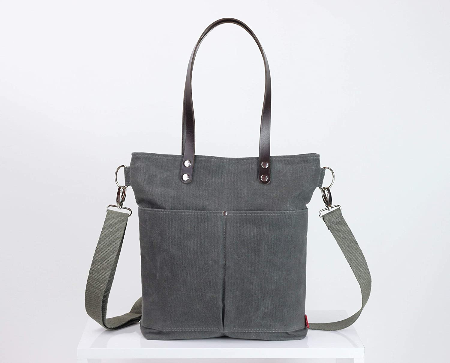 2bbf4200b Amazon.com: Waxed tote bag with long leather strap, extra thick leather,  gray, waxed canvas, large tote, separated pocket, cotton strap, daily use  bag: ...