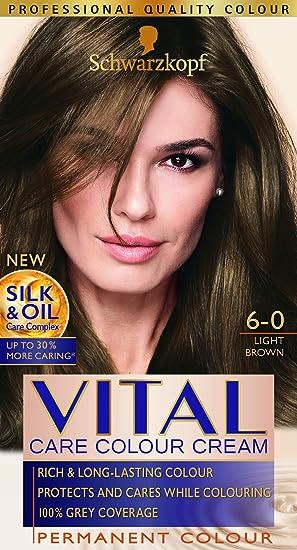 Vital Colors Schwarzkopf - Tinte para el pelo, color marrón claro 6-0, 3 unidades