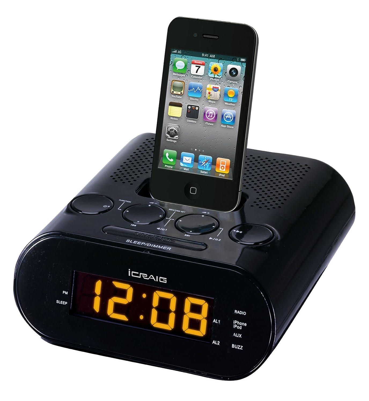amazon com craig dual alarm ipod iphone docking alarm clock rh amazon com Small CD Clock Radio Memorex Clock Radio for iPod