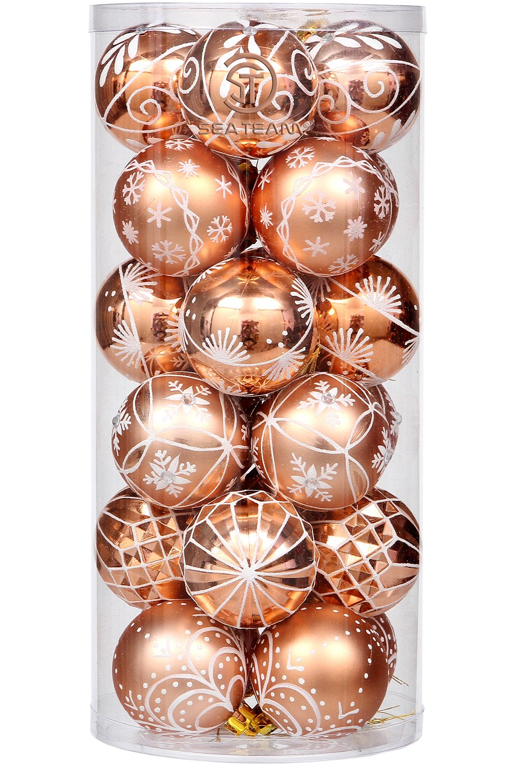 Sea Team 60mm/2.36'' Delicate Painting & Glittering Christmas Tree Pendants Shatterproof Hanging Christmas Ball Ornaments Set - 24 Pieces (COPPER)