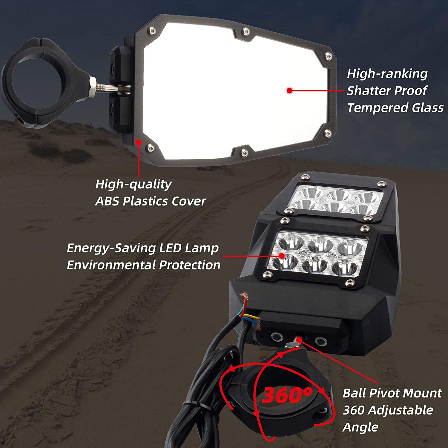 Dasbecan UTV Side Rear View Mirrors With LED Lamp Compatible With Almost All UTV With A 1.75-2 Diameter Round Tube Roll Cages