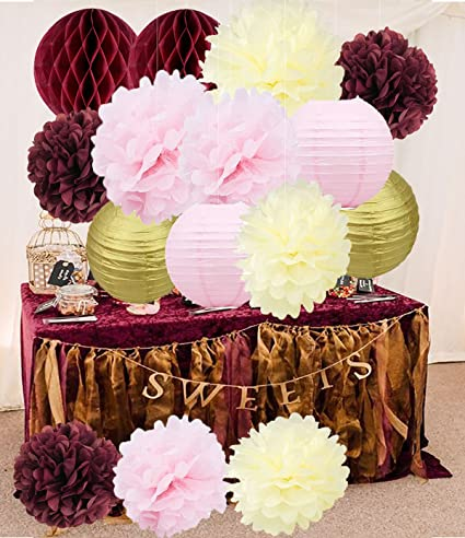 Amazon bridal shower decorations burgundy pink cream glitter bridal shower decorations burgundy pink cream glitter gold tissue pom pom flower paper lanterns honeycomb balls mightylinksfo