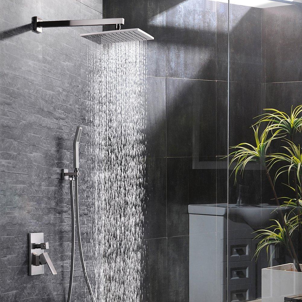 SR SUN RISE Brass 10 Inch Bathroom Luxury Rain Mixer Combo Set Wall ...