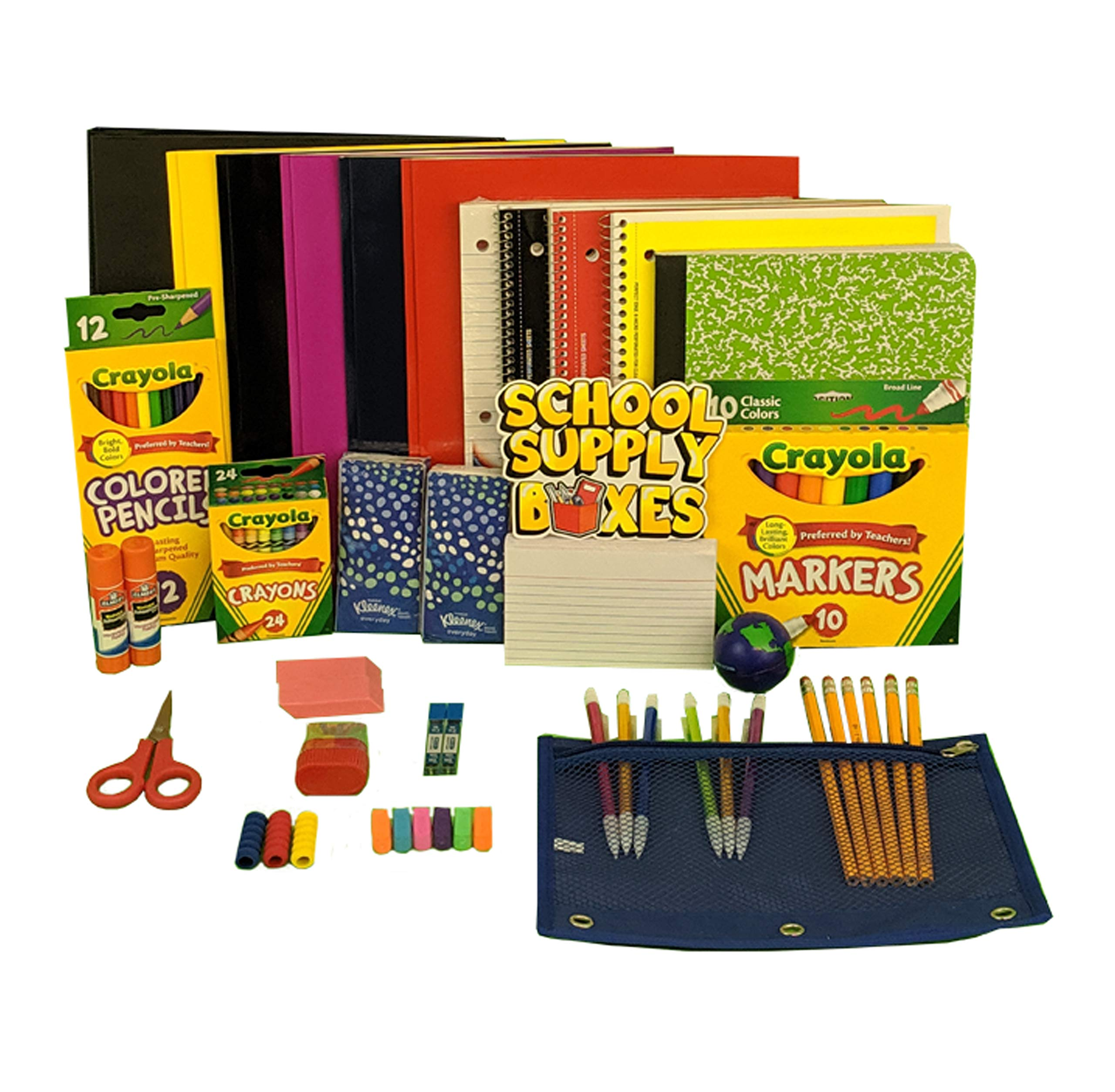 Elementary School Essentials Back to School Kit - School Supplies Bundle Includes 1'' Binder, Folder, Notebook, Filler Paper, Mechanical Pencil, Note Card, Black & Blue Pen, Stress Ball - 47 Pieces