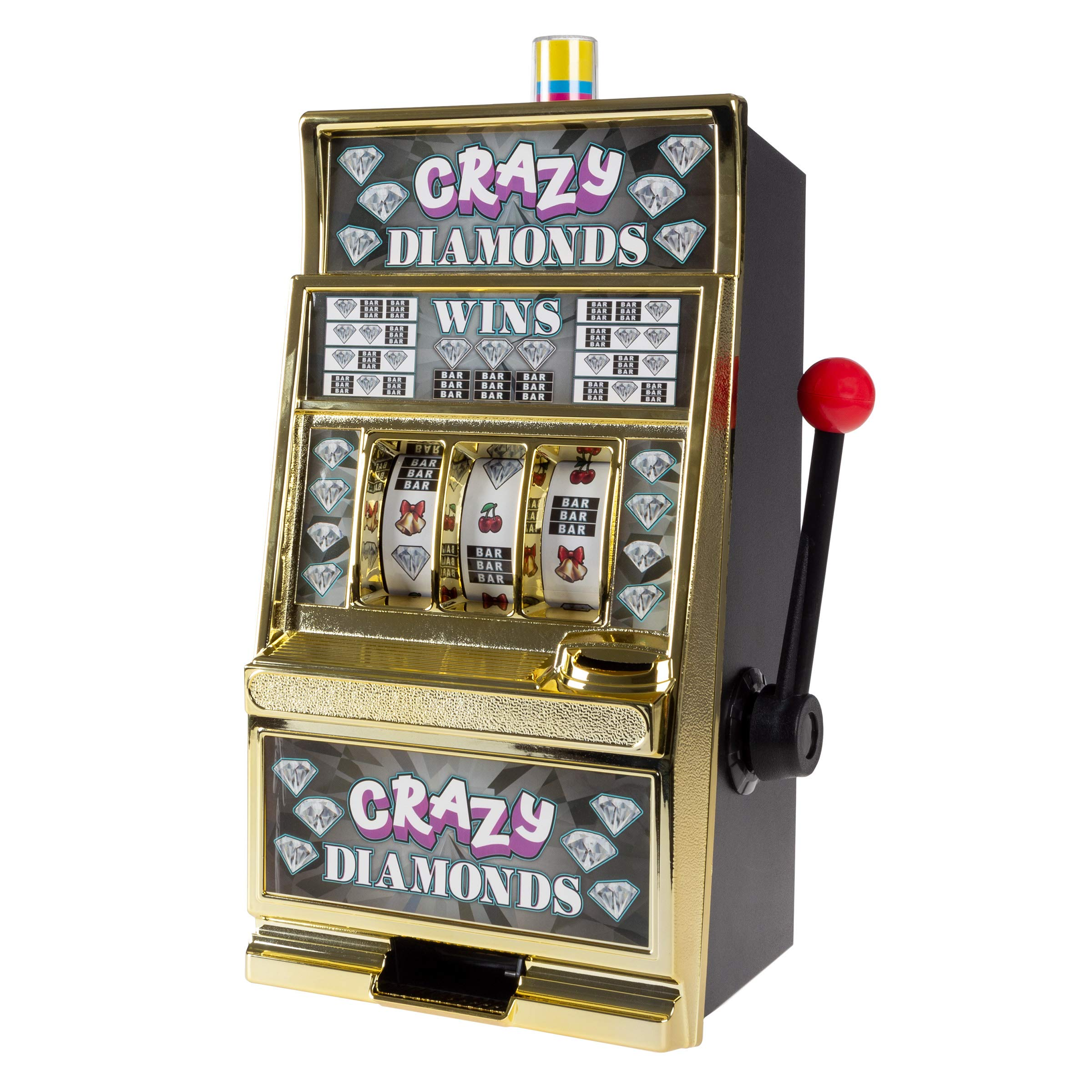 Trademark Gameroom Slot Machine Coin Bank - Electronic Realistic Mini Table Top Novelty Casino Toy with Lever for Kids & Adults (Crazy Diamonds)