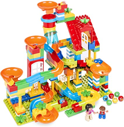 Amazon Com Best Choice Products Kids 247 Piece Marble Run Stem Toy Puzzle Building Blocks Race Track Roller Coaster Set W Ramps Slides Funnels Toys Games