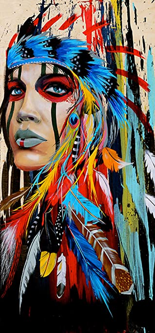 Kotart Diamond Art Painting Kits For Adults 16x31 5 Full Drill Native American Indian Woman Diy Diamond Cross Stitch Patterns Dreamcatcher Feather