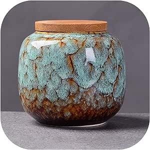 Caja de té de cerámica de estilo chino con diseño retro de color de la fisión para cocina, hogar, tarro de porcelana para café, té azul claro: Amazon.es: Hogar