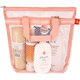Bags in bag Portable Shower Mesh Caddy Bag Quick Dry Hanging Toiletry and Bath Organizer for Travel and Swimming (Pink)
