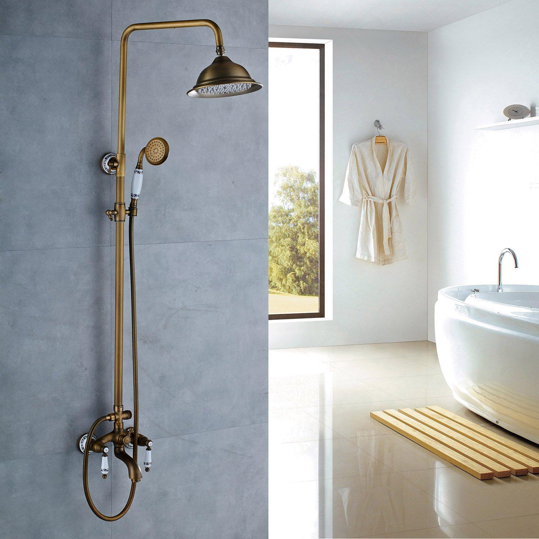 Rozin Porcelain Deco Tub Shower Faucet Set 8-inch Rainfall ...