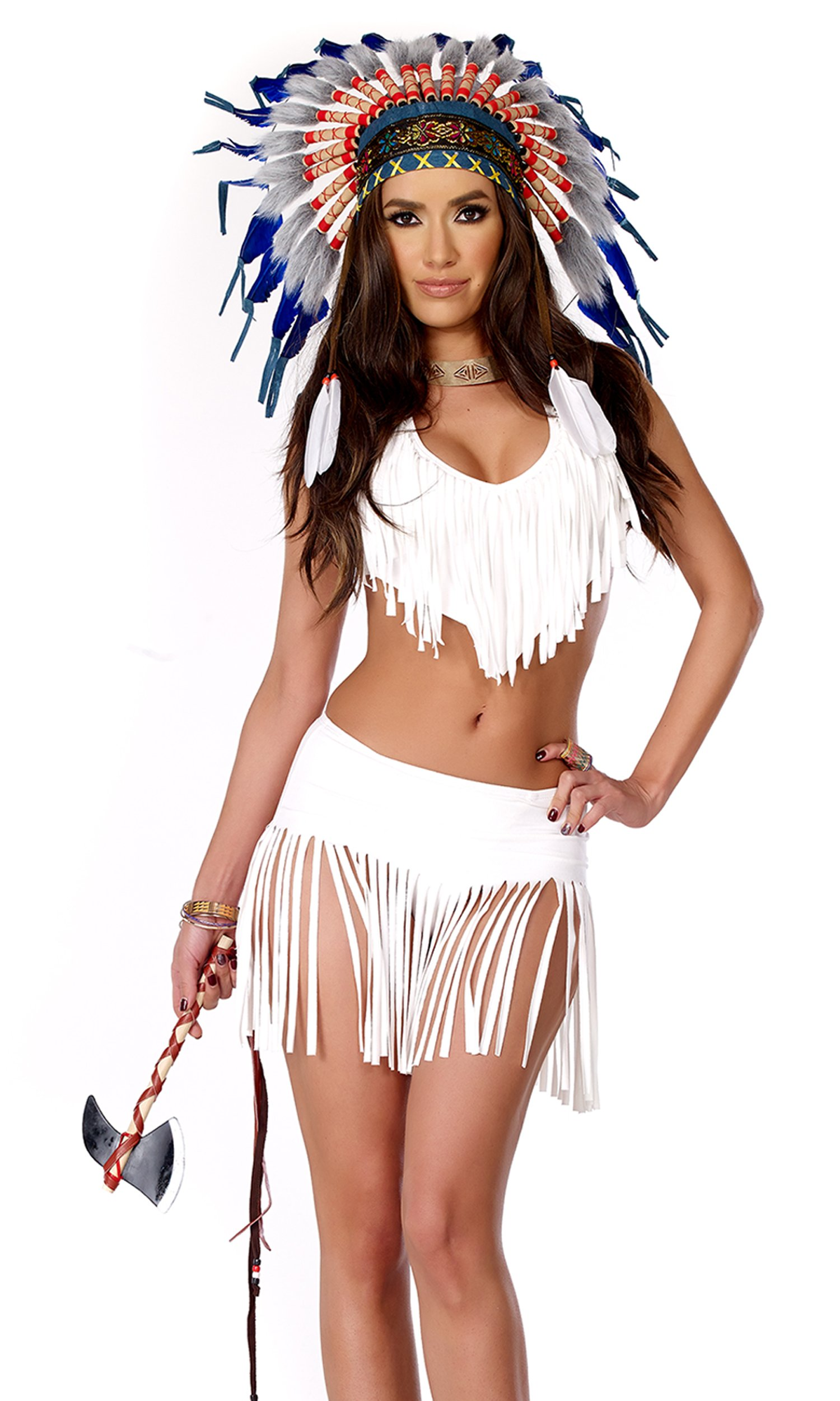 Forplay Women's Indian Summer Fringe Top and Skirt Panty and Tomahawk, White, X-Small/Small