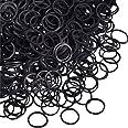 1000 Mini Rubber Bands Soft Elastic Bands for Kid Hair Braids Hair (Black)