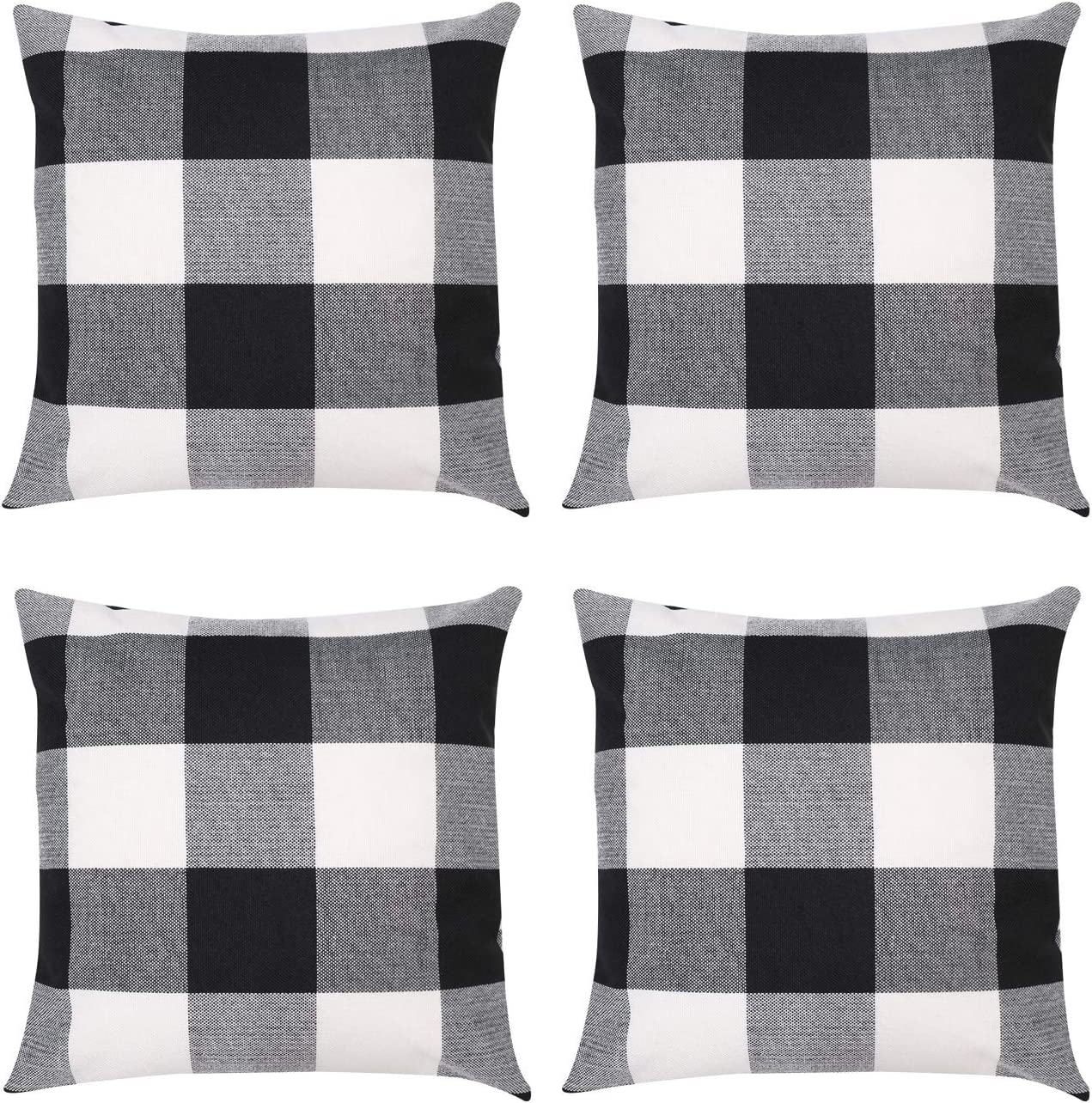 ZhangShi Set of 4 Buffalo Check Plaid Throw Pillow Covers Black and White, 18 x 18 Inches Farmhouse Decorative Square Pillow Cushion Cover Case for Home Sofa Bedroom Car Decor