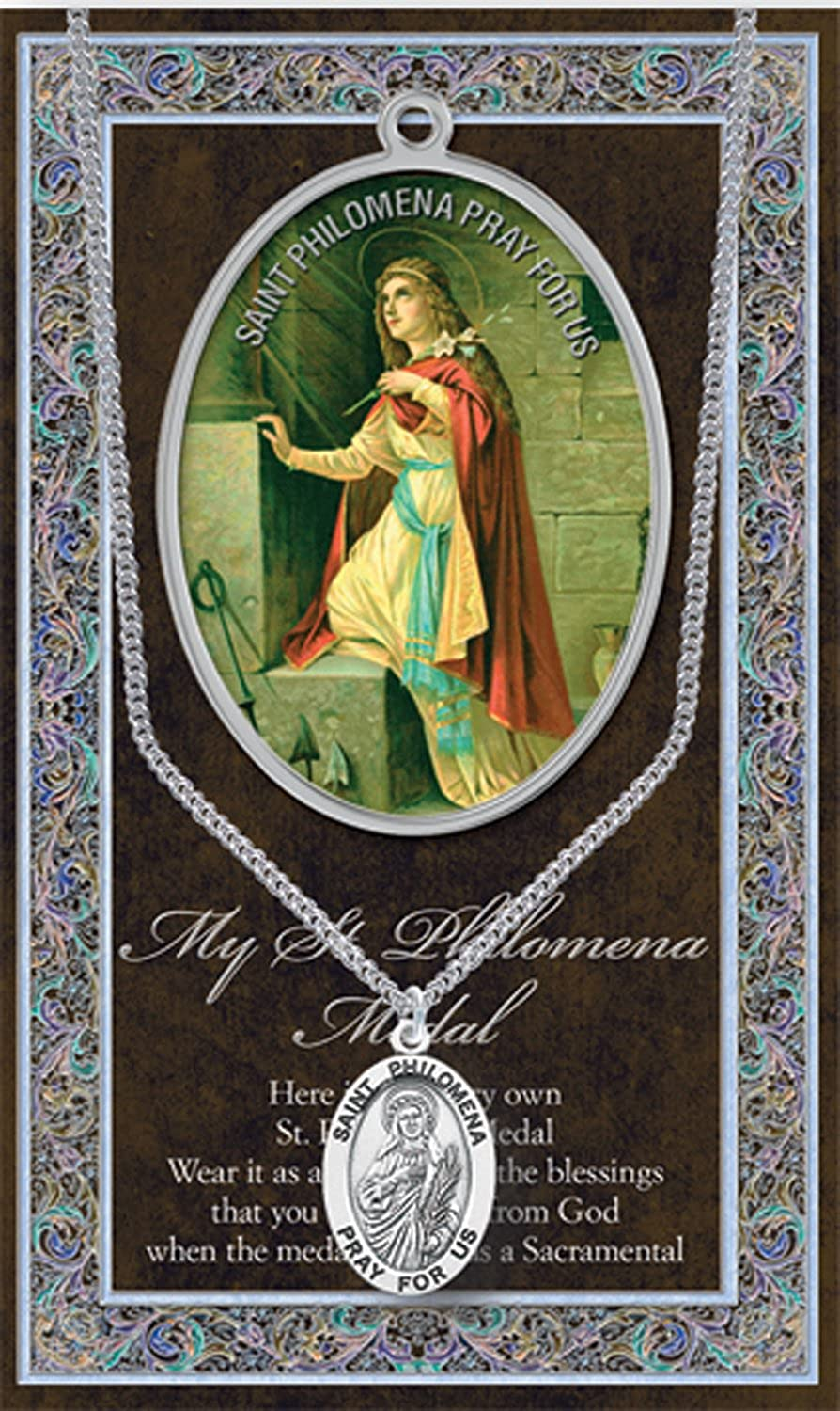 "++SAINT PHILOMENA 1.125"" Genuine Pewter Medal Stainless Steel Chain. Silver Embossed Pamphletw Copyrighted Paul Herbert Blessing PATRONA Series"