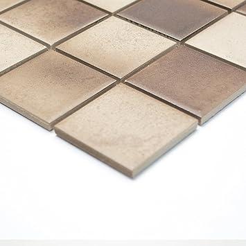 Fliesen Mosaik Mosaikfliese Küche Keramik Quadrat Mix Beige Braun 6mm Neu  #259