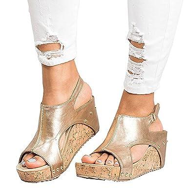 abb809da7954 Ru Sweet Women s Sandals Peep Toe PU Belt Buckle Blocking Hook-Loop Fashion Wedges  Sandals