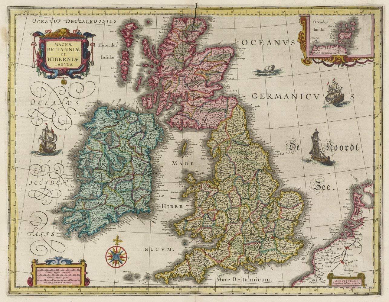 Color Vintage Map Of England Ireland Scotland Fine Art Print Reproduction