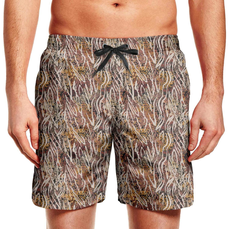 QILI Leopard Print Mens 4-Way Stretch Waterproof Surfing Hawaiian Cool Beach Board Shorts