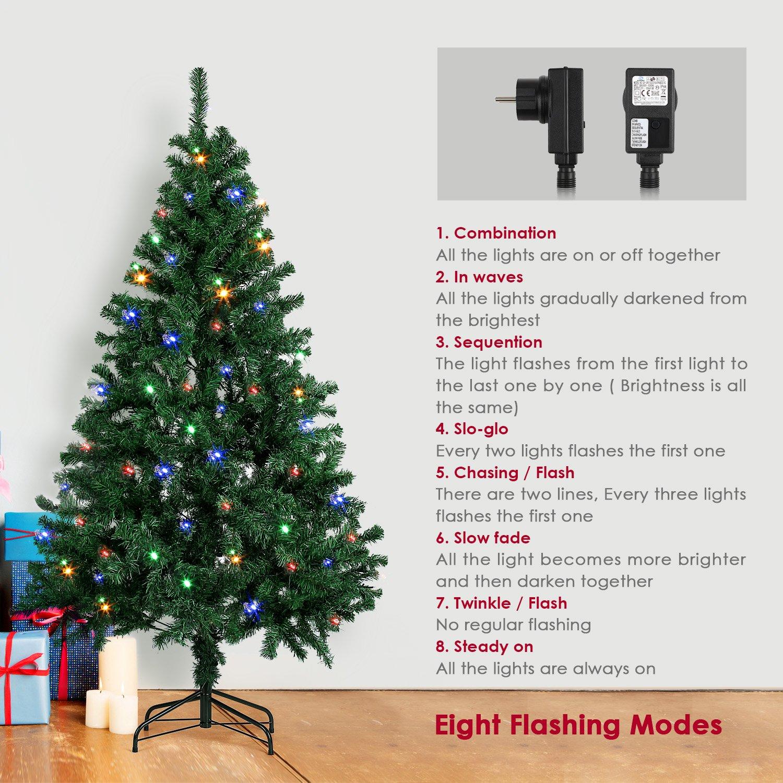 amzdeal Árbol de Navidad Artificial con Brillante LED 4 Colores, Brillante árbol de Navidad con 250 LED para decoración de Fiesta de Navidad - ...