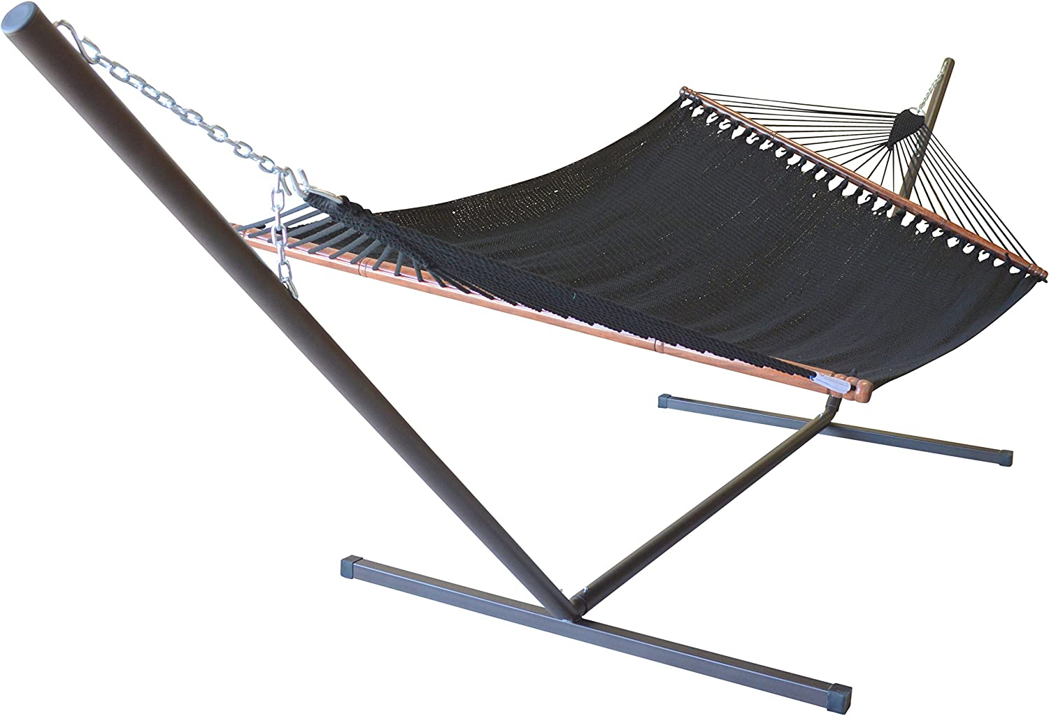 Caribbean Hammocks Jumbo Hammock and 15 ft Tribeam Stand - Black