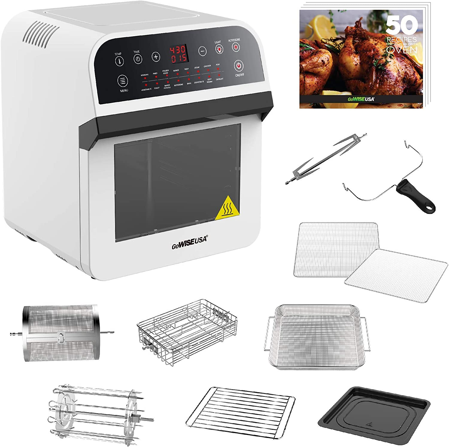 GoWISE USA GW44802-O Deluxe 12.7-Quarts 15-in-1 Electric Air Fryer Oven w/Rotisserie and Dehydrator + 50 Recipes, QT, White (Renewed)