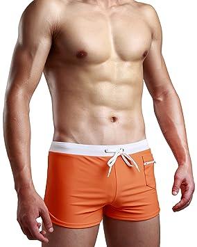 166c16da9b7 Image Unavailable. Image not available for. Colour: Swimsuit Men Swim Trunk  Briefs Square Leg Cut Swimwear Boardshort Beach Short Surfwear with Pocket