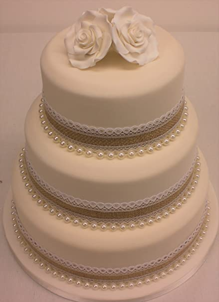 Vintage Rustic Wedding Cake 36mm Hessian Lace Ribbon With Pearls Sugar Rose Cake Topper Set