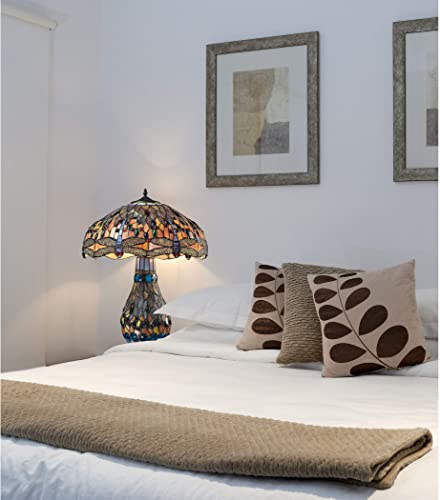 Diamond 72079-3 Dimond Lighting Dragonfly Tiffany Glass Table Lamp, 18 x 18 x 26