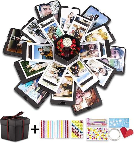 Caja de regalo de explosión creativa, álbum de fotos hecho a mano con memoria, caja sorpresa con amor, caja de regalo de cumpleaños, álbum de recortes de amistad con accesorios: Amazon.es: Juguetes