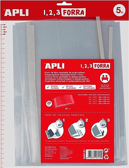 APLI Kids 16913 - Pack de 5 forros de libros, solapa ajustable PP, 290 mm: Amazon.es: Oficina y papelería