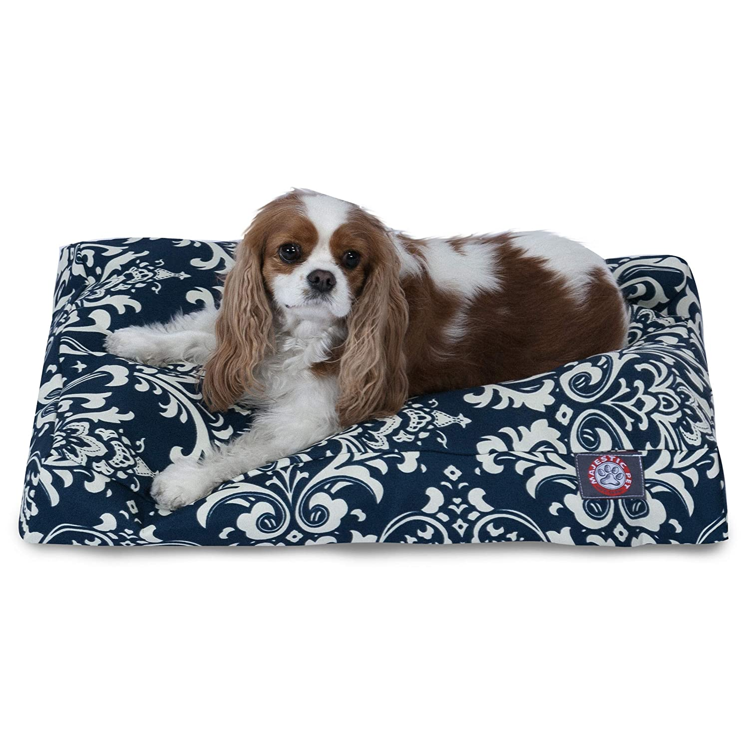 Navy bluee S Navy bluee S Majestic Pet Navy bluee French Quarter Small Rectangle Indoor Outdoor Pet Dog Bed With Removable Washable Cover Products