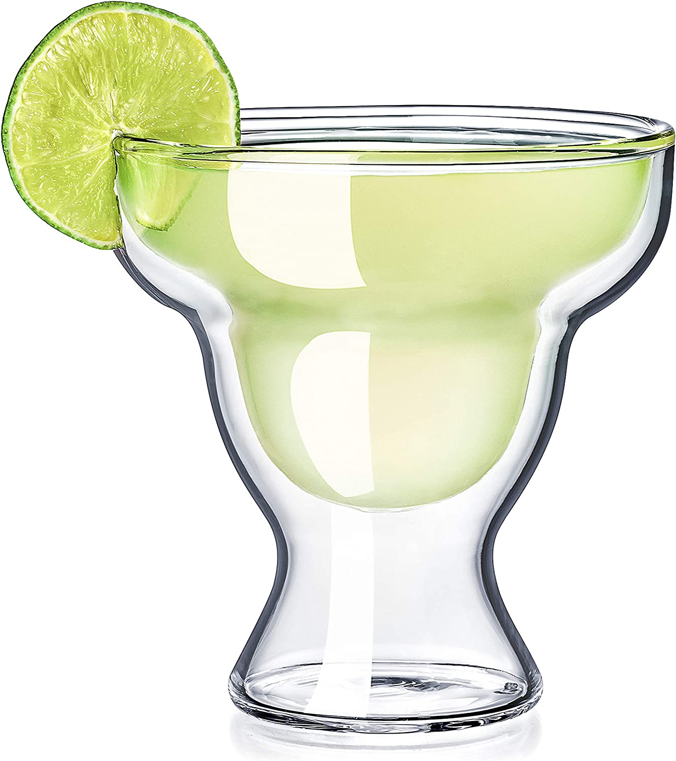 Dragon Glassware Margarita Glasses, Stemless Insulating Double Walled Bar Glasses, 12-Ounce, Set of 2