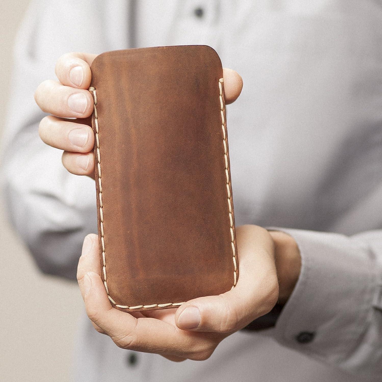 Marrón oscuro Funda De Cuero Para iPhone XS Max, 8 Plus, 7 Plus, 6s/6 Plus Caja De Funda Bolsa. Cosido a mano.