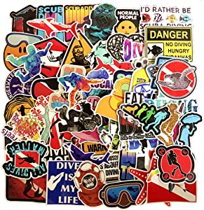 Linzze Stickers 65-Pcs Pack Waterproof Vinyl Bumper Decals Perfect for Laptop Car Skateboard Water Bottle Travel Case Guitar Luggage Motorbikes (Diving Sports)