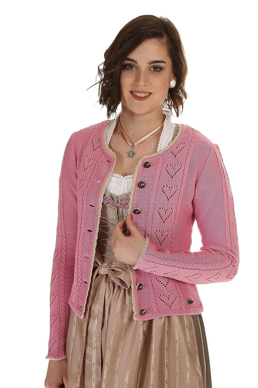 Countryline Damen Strickjacke rose Trachten Strickjacke mit Herzmuster Dirndljacke Damen
