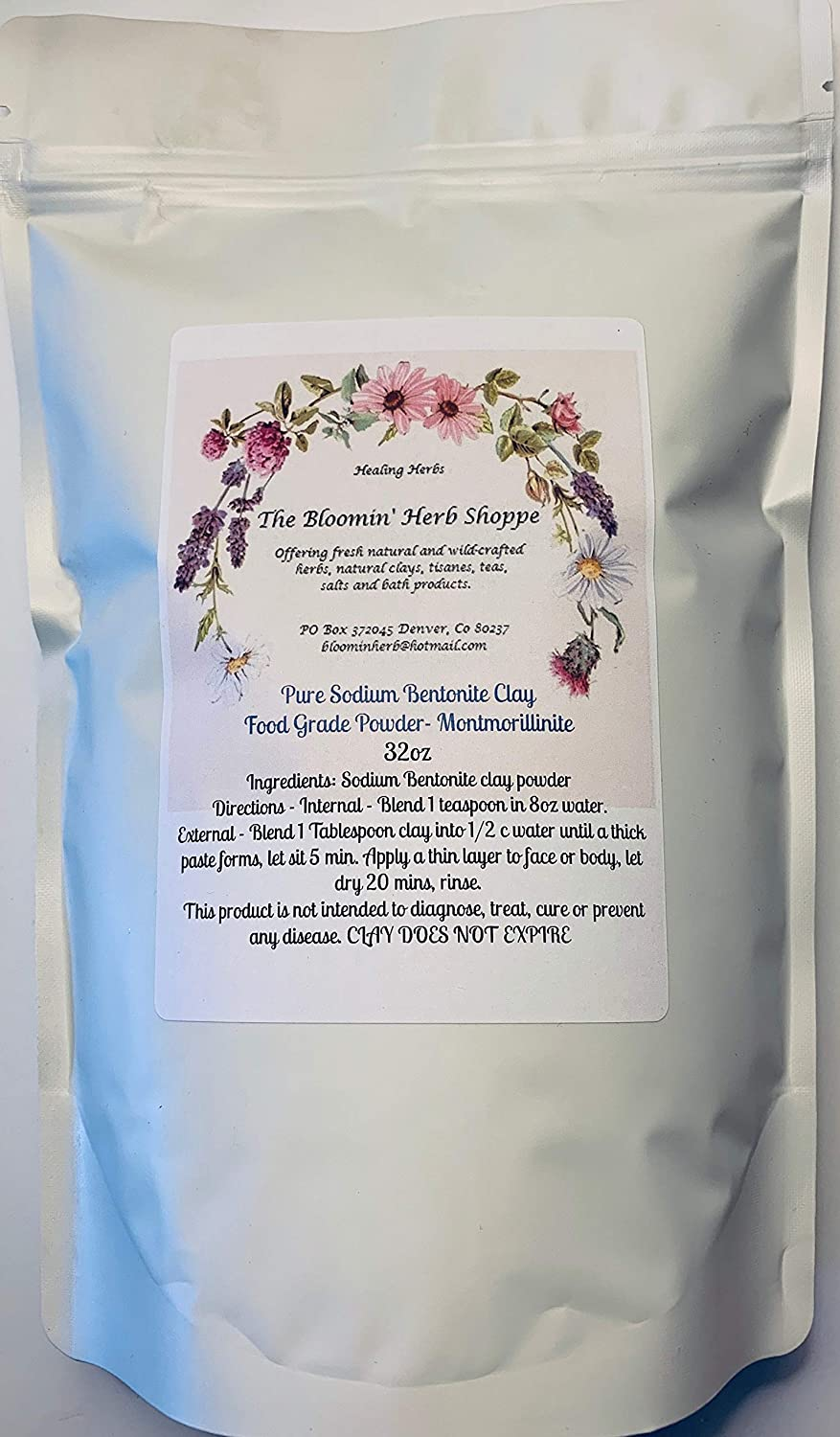 Sodium Bentonite Clay Food Grade Fine Powder Bulk | 32oz 2lbs | Internal External | The Bloomin Herb Shoppe | Mined in The Big Horn Wyo | Detox | Water Washed no Chemicals | Masks Wraps spa