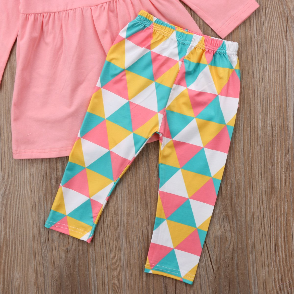 ThreeC Kids Little Girls 3 Piece Long Sleeve Dress Shirt and Geometric Triangle Print Pants and Scarf Winter Outfit