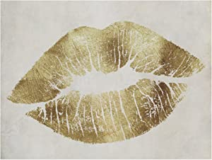 Hollywood Kiss Gold Ornate Frame by Color Bakery, 14x19-Inch Canvas Wall Art