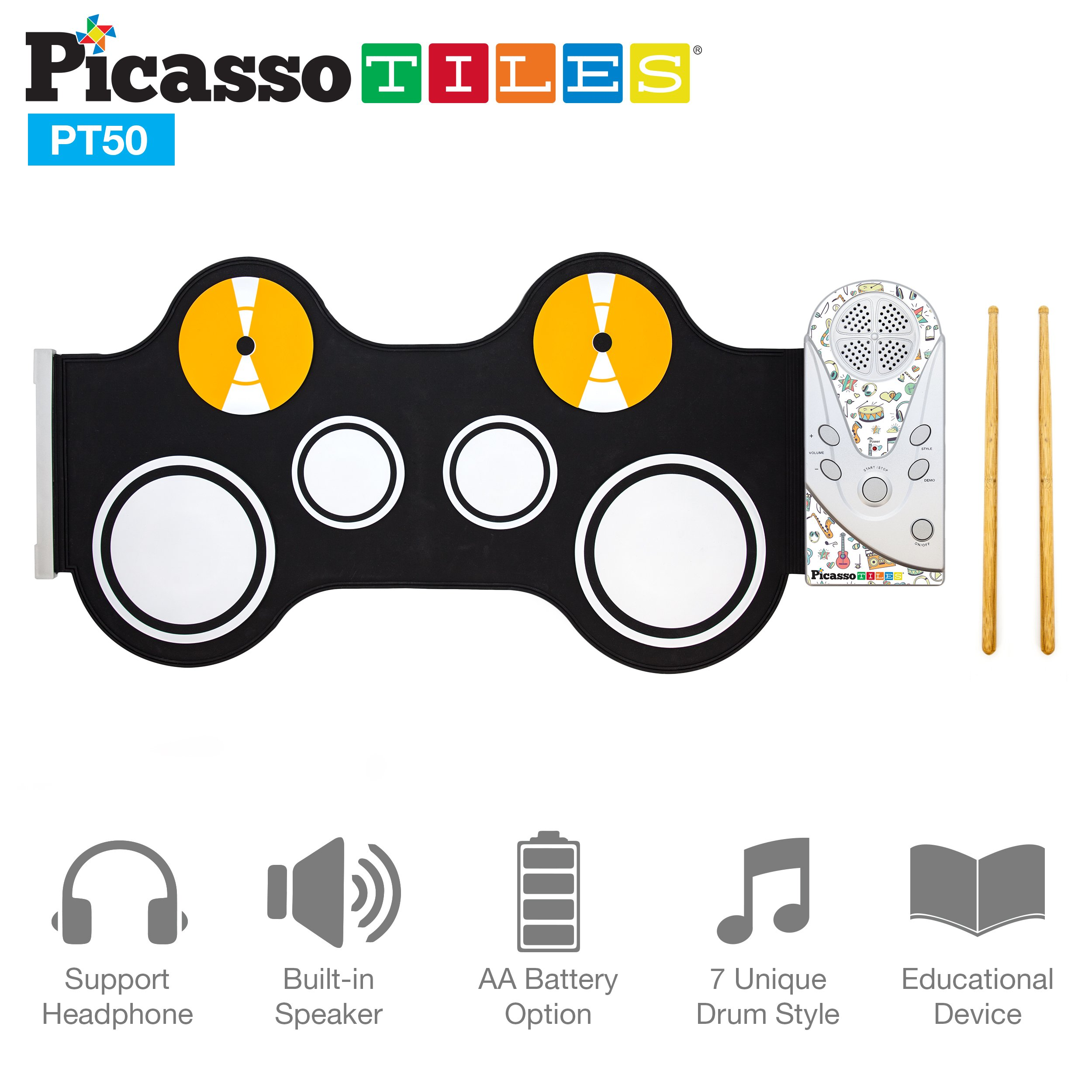 Picasso Tiles PT50 Portable Kid's Roll Up Drum, Educational Electronic Drum Set w/ 7 Different Drum Pads, Recording Feature, Headphone Jack, Build-in Speaker, Educational Demos for Toddlers & Kids