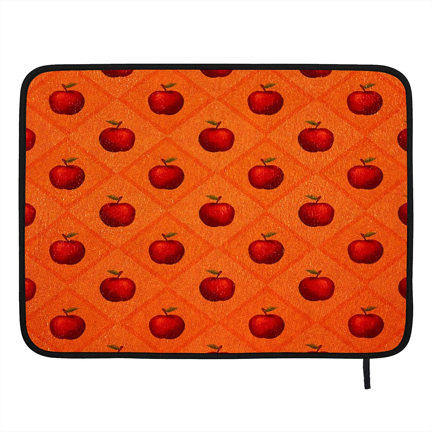 Absorbent Dish Drying Mat Fruit Red Fresh Apple Kitchen Counter Mat Protector Heat Resistant Drying Pad Protector Suitable for Kitchen Sink Dining Table decor 18×16 inch