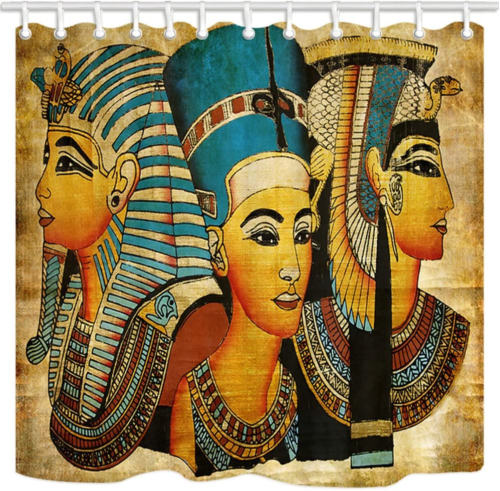 NYMB 3D Digital Printing Egyptian Queen King Prince on Papyrus Shower Curtain, Waterproof Polyester Fabric Ancient Egypt Bathroom Decorations, Bath Curtains Hooks Included, 69X70 inches (Multi9)